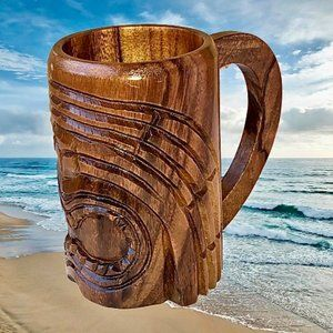 MING Hawaiian Carved Wood Tiki Mug Handle